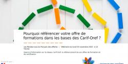 Pourquoi référencer son offre de formation dans les bases des Carif-Oref ? (Webinaire)