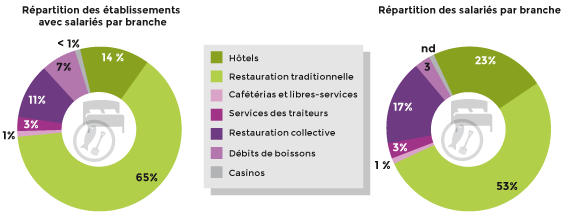 L'hôtellerie-restauration en Ile-de-France : répartition par branches.