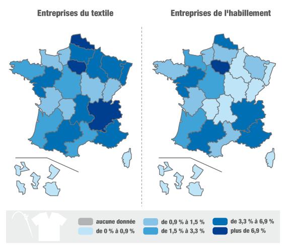 Répartition des entreprises des secteurs du textile et de l'habillement en France